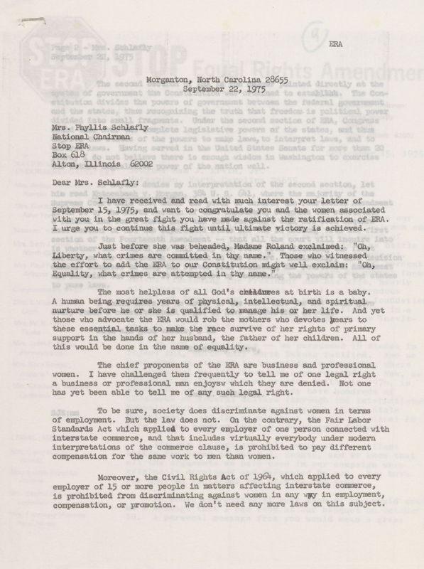 letter Sam Ervin to Phyllis Schlafly, Sep 22, 1975