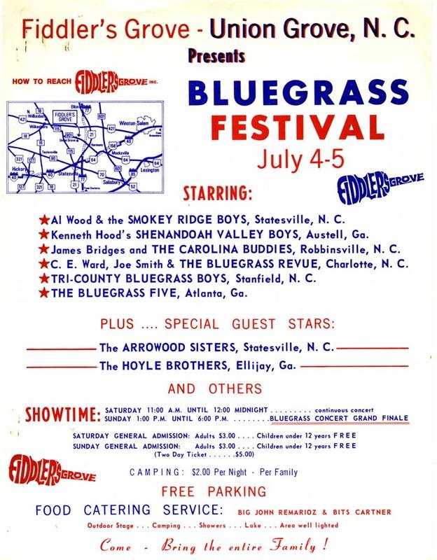 Bluegrass Festival Poster, Fiddler's Grove, 1970
