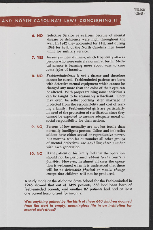 Center page of What do you know about-- sterilization leaflet by the Human Betterment League of North Carolina