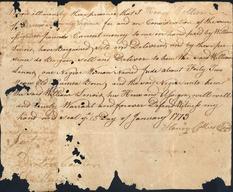 15 January 1773. Bill of sale. Henry Collier to William Lenoir.