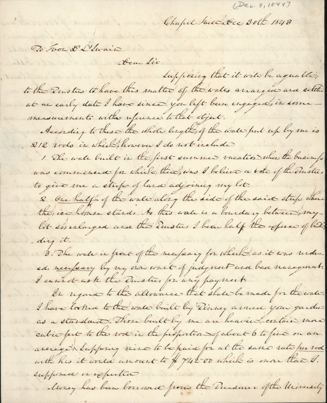 3 December 1844. Elisha Mitchell to David L. Swain.