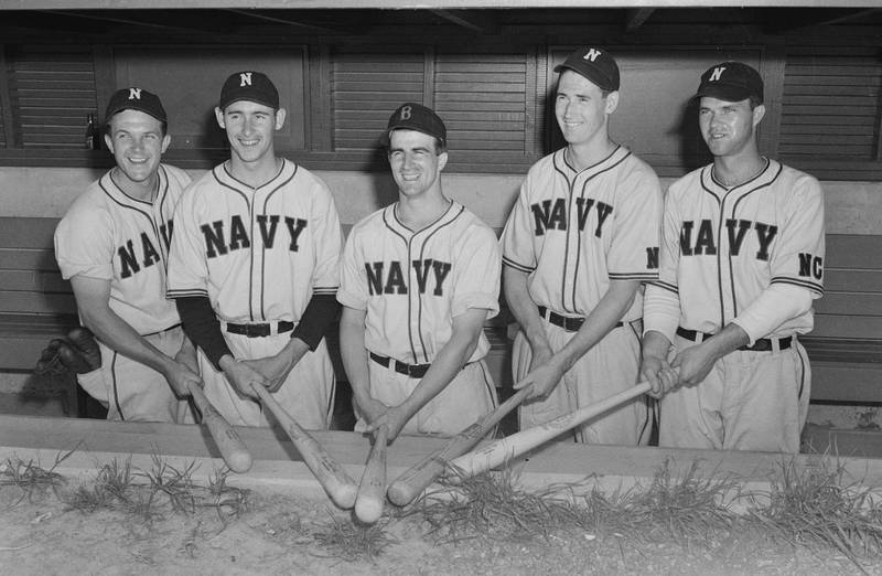 Cloudbusters Pre-flight School, UNC-CH, 1943.  L-to R: Buddy Gremp, Joe Coleman, Johnny Pesky, Ted Williams, Johnny Sain