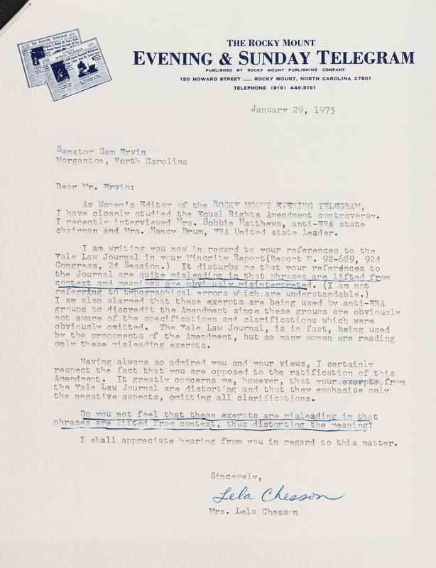 letter Lela Chesson to Sam Ervin, Jan 29, 1975