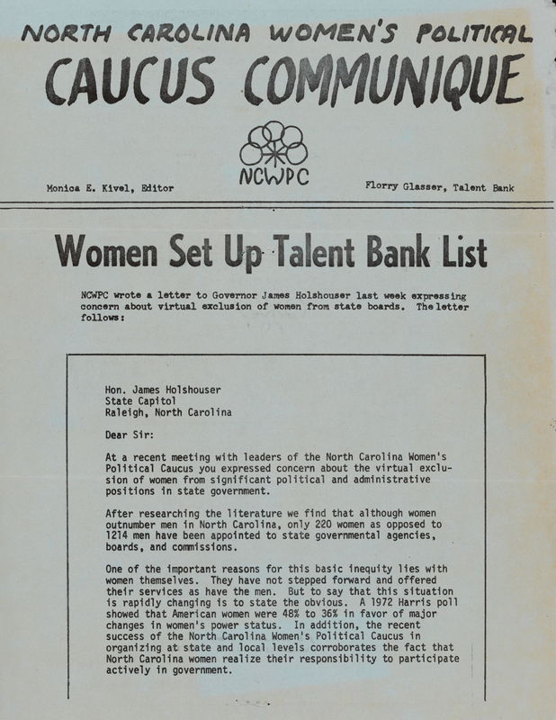 N. C. Women's Political Caucus Communique