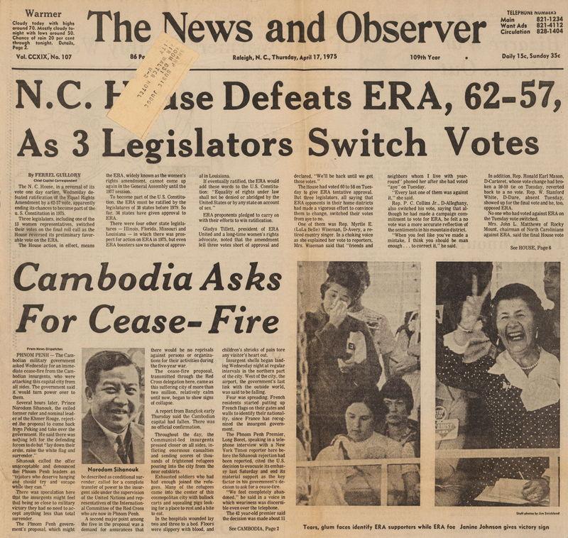 N. C. House defeats ERA, Raleigh News & Observer, Apr 17, 1975