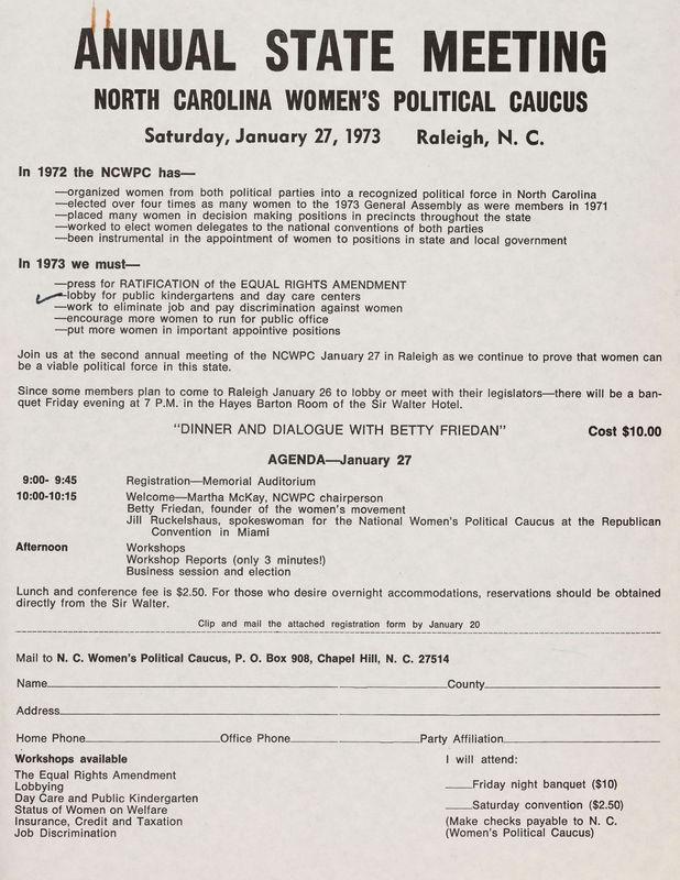 N. C. Women's Political Caucus Annual Meeting application, 1973