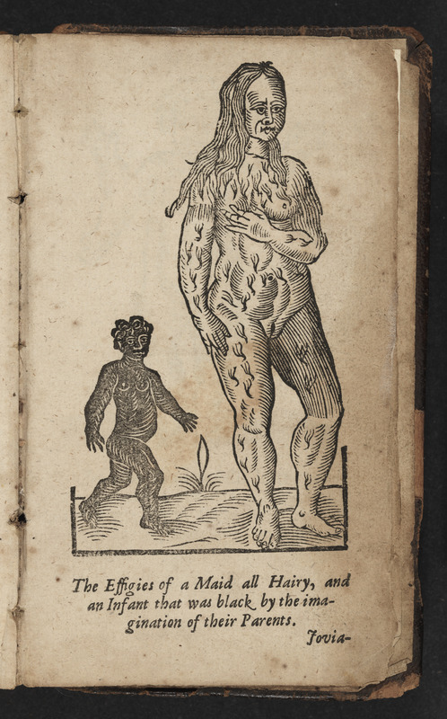 Woodcut entitled the Effigies of a Maid all Hairy, and an Infant that was black by the imagination of her Parents by Jovia in Aristotle's Master-Piece by Pseudo Aristotle