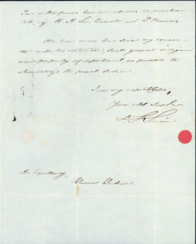 1 September 1847. David L. Swain to William A. Graham.