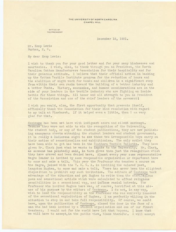 Letter, Frank Porter Graham to Kemp Plummer Lewis
