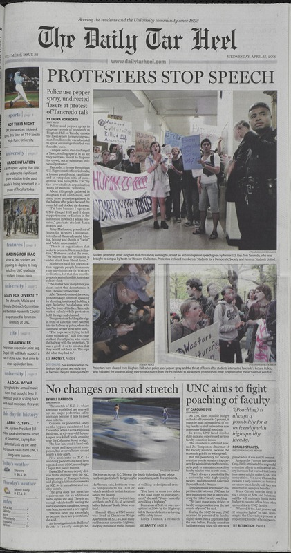 <em>Daily Tar Heel</em>, 15 April 2009