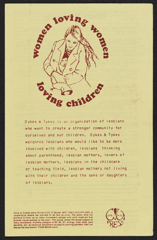Front cover of Women Loving Women Loving Children leaflet by Dykes and Tykes