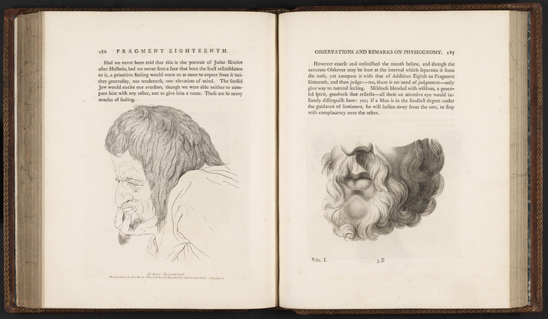 Pages 186 and 187 of Essays on Physiognomy by Johann Caspar Lavatar depicting Judas using exaggerated and stereotypical Jewish features contrasted with the mouth and nose of a man with European features