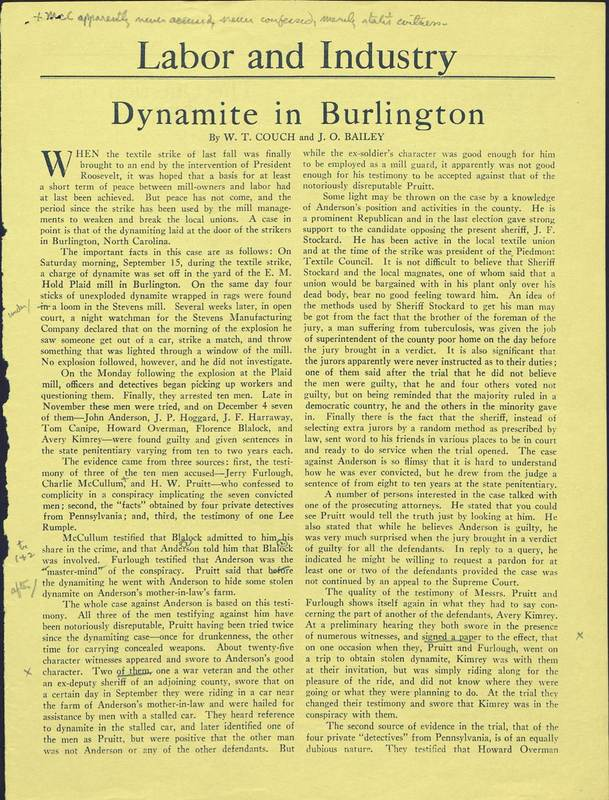 "Article, ""Dynamite in Burlington,"" by William T. Couch and James Osler Bailey, published in <em>The Nation</em> (vol. 140, no. 3642), 24 April 1935."
