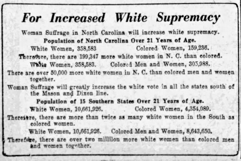 """""""For Increased White Supremacy,"""" The News and Observer (Raleigh) Sunday, August 15, 1920"""