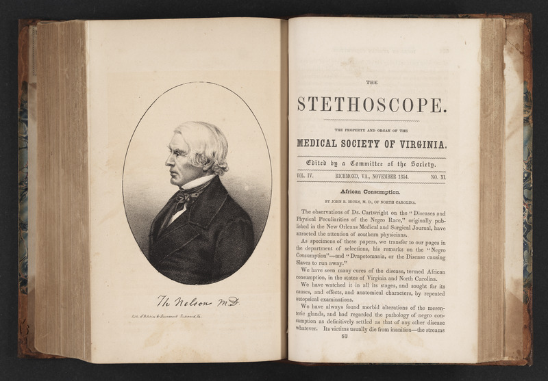Volume 6 of The Stethoscope from November 1854 showing the article African Consumption by John R. Hicks with frontispiece portrait of Thomas Nelson
