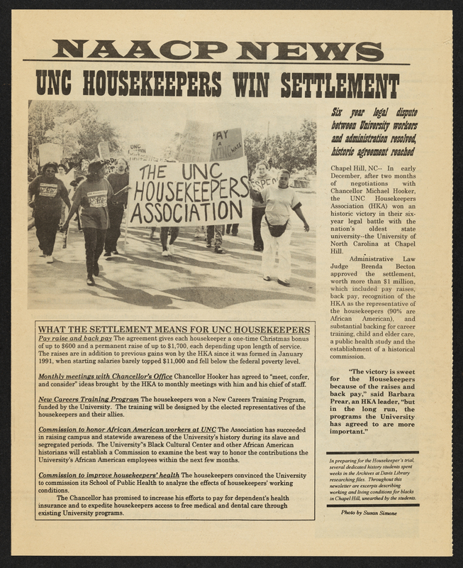 "NAACP newsletter with ""UNC Housekeepers Win Settlement"" headline"