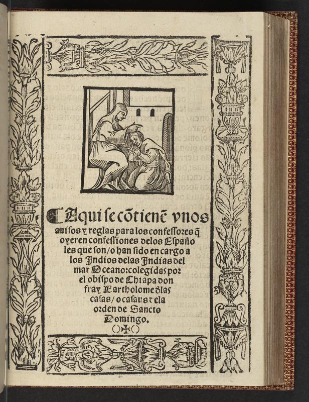 Title page of Bartolomé de las Casas's Aqui se contiene una disputa
