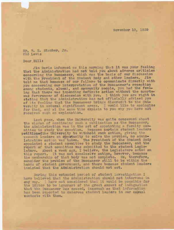 Letter, Fred Weaver to Bill Stauber, 10 November 1939, Chapel Hill, N.C.