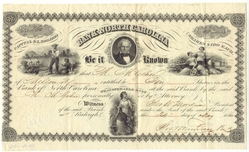 Bank of North Carolina stock certificate