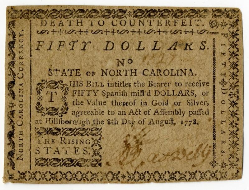 North Carolina paper money $50, 1778 (front)