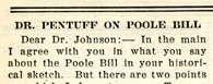"""Dr. Pentuff on Poole Bill"""