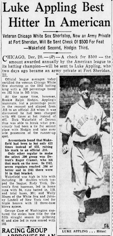 Luke Appling in Charlotte Observer December 21, 1943