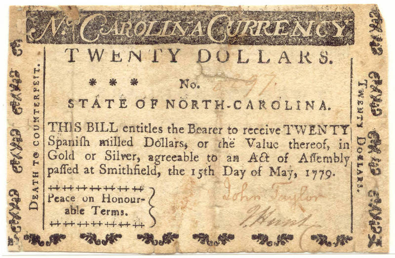 North Carolina paper money $20, 1779