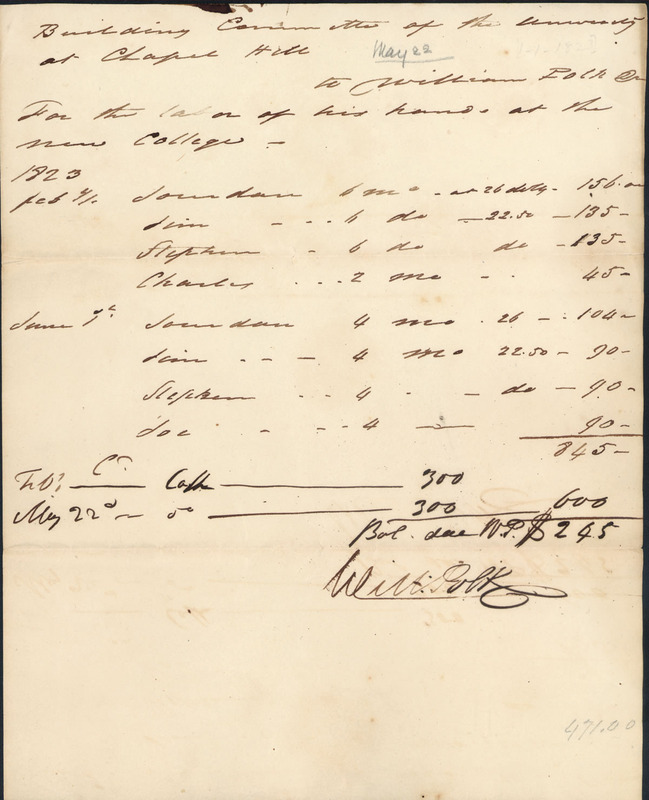 "22 May 1823. ""Settlement with Col. William Polk."""