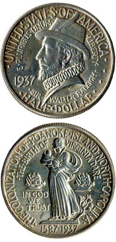 Roanoke commemorative coin, 1937, obv and rev