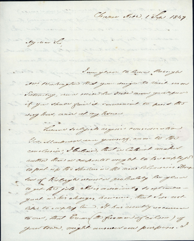 1 September 1847. David L. Swain to William A. Graham.