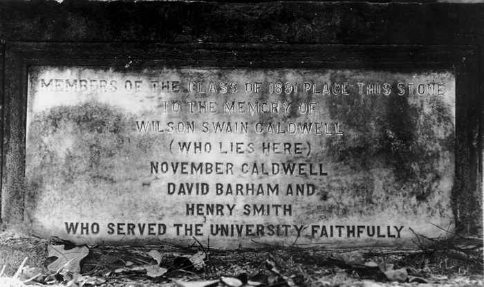 Inscription on the monument at the grave of Wilson Caldwell, Old Chapel Hill Cemetery.