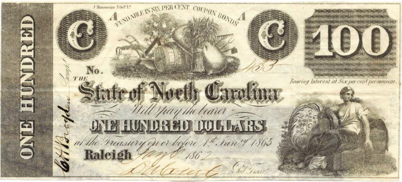 North Carolina $100 treasury note 1862