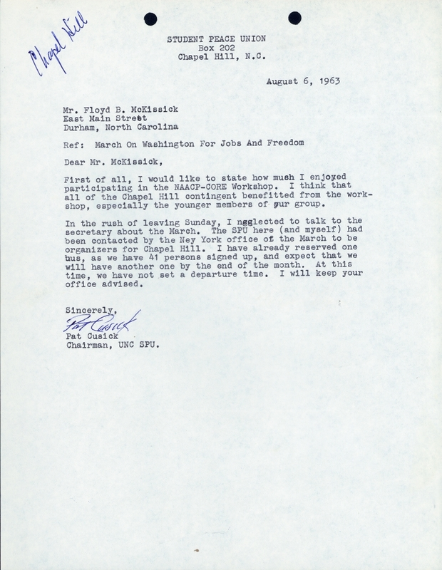 Letter from Patrick Cusick to Floyd McKissick.