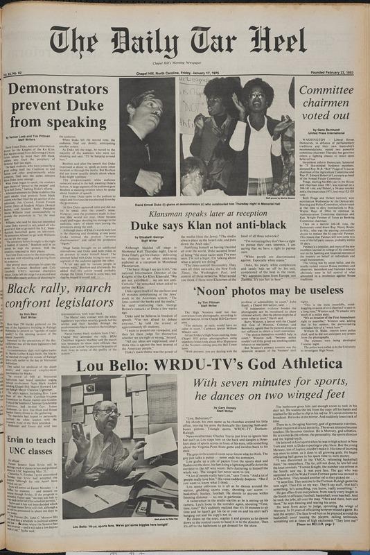 <em>Daily Tar Heel</em>, 17 January 1975