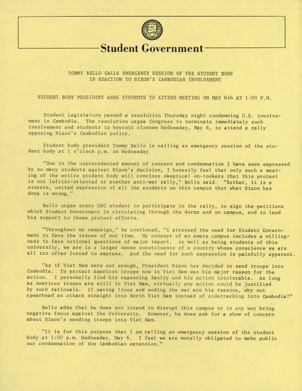 Tommy Bello calls emergency session of the student body in reaction to Nixon's Cambodian involvement, page 1