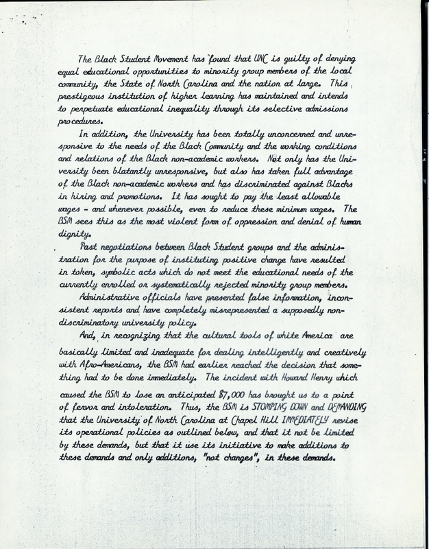 List of 23 Demands of the Black Student Movement, page 2