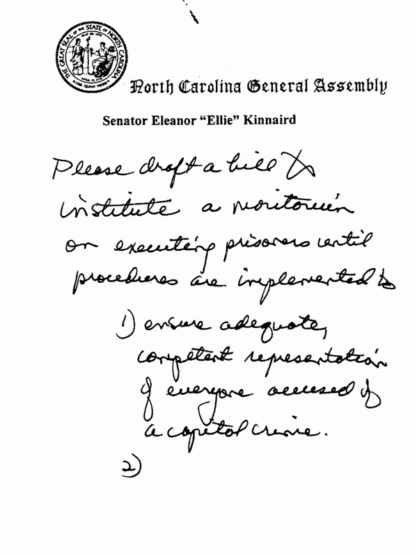 Draft of S.B. 972, a bill calling for a two-year moratorium on executions in North Carolina