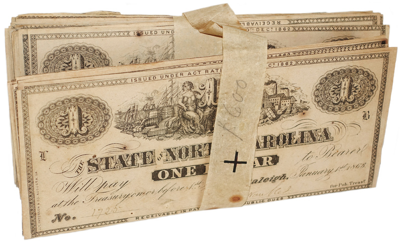 Original bundle of NC Civil War treasury notes