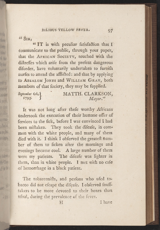 Page 97 from An Account of the Bilious Remitting Yellow Fever: As It Appeared in the City of Philadelphia, in the Year 1793 by Benjamin Rush