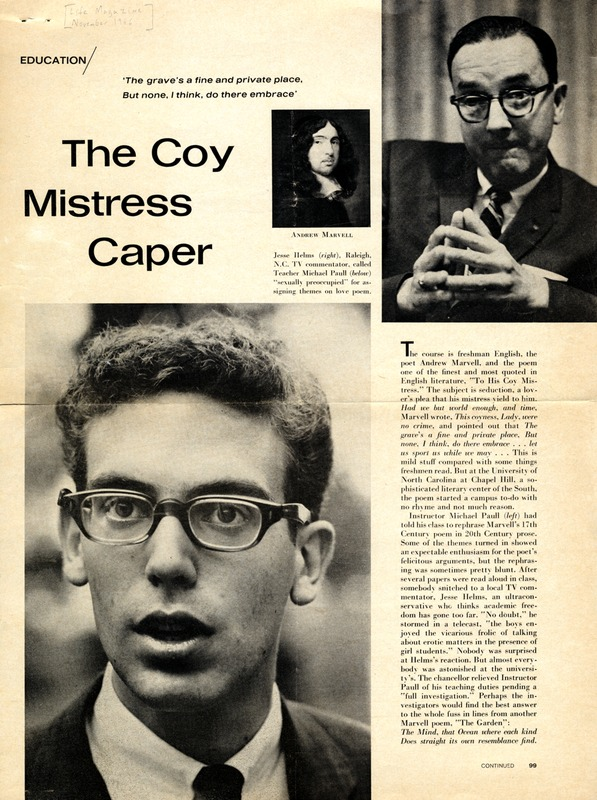 "Article, ""The Coy Mistress Caper,"" <em>Life, </em>November 1966: 99-102."