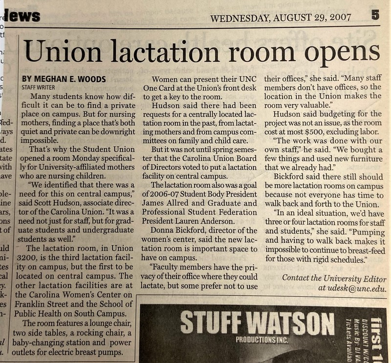 "Article in the Daily Tar Heel ""Union Lactation Room Opens"" 2007"