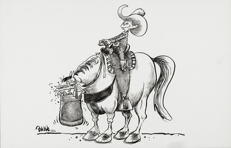 George W. Bush shown as a Texan on a horse in stereotypical western attire