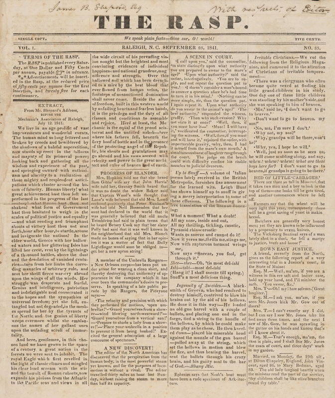 front page from The Rasp by W. Whitaker, Jr.