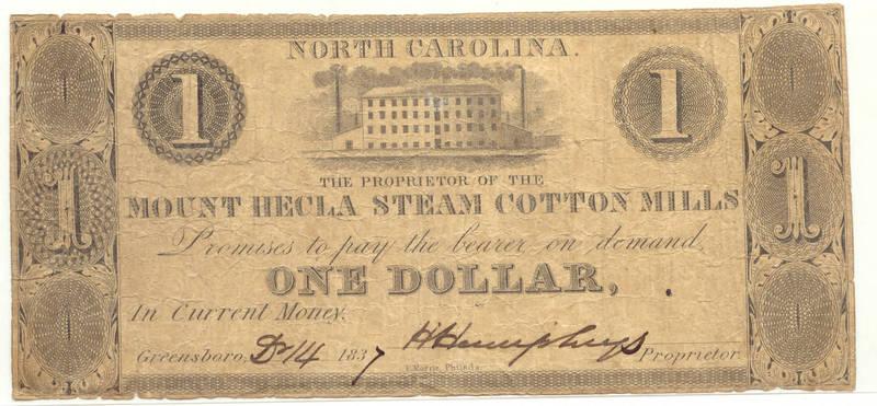 Mt. Hecla Steam Cotton Mill $1 bill