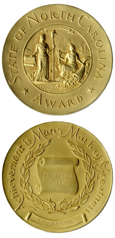 The North Carolina Award medal, Paul Green