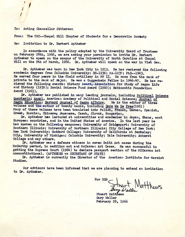 Letter, Stuart Matthews and Gary Waller to Chancellor J.C. Sitterson, 28 February 1966, Chapel Hill, N.C.