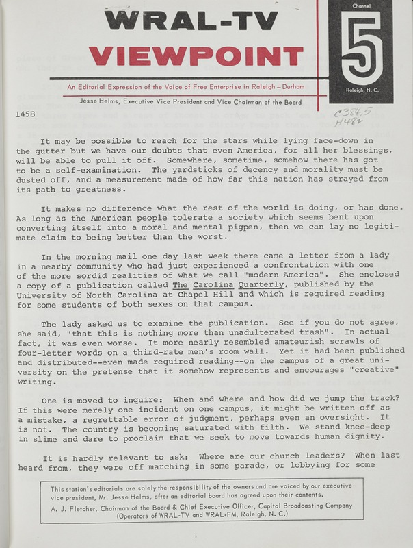 Radio Show Transcript, Viewpoint #1458 (October 13, 1966), Viewpoint, [Raleigh, N.C.: Capitol Broadcasting Co.], 1960-1976. North Carolina Collection]