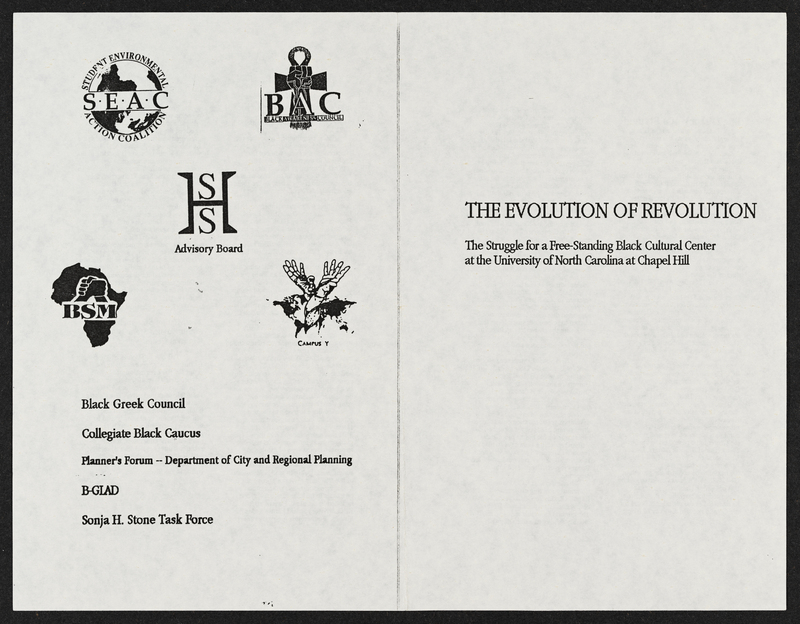 """Evolution of Revolution"" booklet for free-standing Black cultural center,"