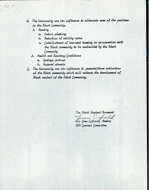 List of 23 Demands of the Black Student Movement, page 6