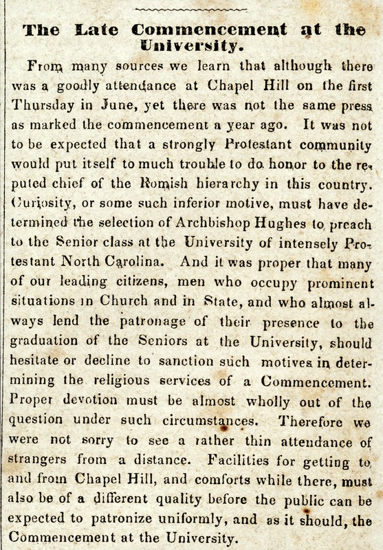 """The Late Commencement at the University."" Hillsborough Recorder 20 June 1860"